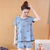 Mujer Simple Noche Casual/Diario Camiseta,Escote Redondo Estampado Manga Corta Algodón