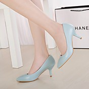 MujerSuelas con luz-Zapatos de taco bajo y Slip-Ons-Informal-Cuero-Blanco Beige Azul Rosa