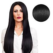 髪のエクステンション#1の暗い黒のジェットブラック40gの16inchの20inchの100%の人間の髪の20pcsのテープ