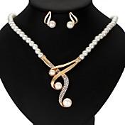 Mujer Juego de Joyas Perla artificial Cintas Boda Fiesta Casual Legierung Forma de Corona 1 Collar 1 Par de Pendientes