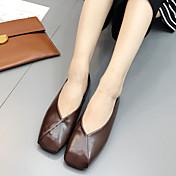 女性用 靴 PUレザー 春 夏 ライト付きソール ローファー&スリップアドオン のために カジュアル ブラック Brown アーモンド