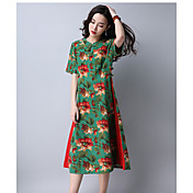 Mujer Recto Vestido Casual/DiarioEstampado Escote Redondo Midi Manga Corta Seda Rayón Primavera Verano Tiro Medio Microelástico Fino