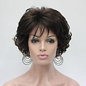 Mujer Pelucas sintéticas Sin Tapa Corto Rizado Castaño Peluca natural Las pelucas del traje