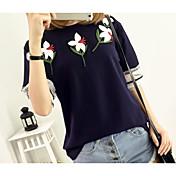 レディース カジュアル/普段着 Tシャツ,シンプル ラウンドネック プリント コットン 半袖 薄手