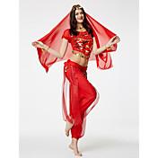 ベリーダンス セット 女性用 性能 シフォン スパンコール 半袖 ローウエスト 上着 パンツ ヒップスカーフとベルトは含まれていません. ベール