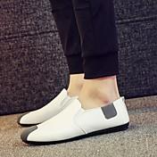 メンズ 靴 レザーレット 夏 秋 モカシン ローファー&スリップアドオン ウォーキング 用途 カジュアル ホワイト ブラック グリーン