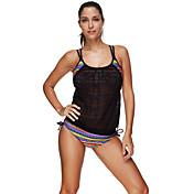 婦人向け ストラップ付き タンキニ,カラーブロック バンデージ ボヘミアン スポーツ 大きく開いた胸元 スパンデックス