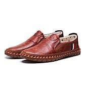 男性用 靴 繊維 春 秋 コンフォートシューズ ローファー&スリップアドオン ウォーキング のために カジュアル アウトドア ブラック Brown