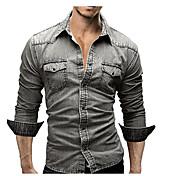 メンズ オフィス/キャリア 日常 カジュアル オールシーズン シャツ,シンプル ストリートファッション シャツカラー ソリッド 70%Wool30%コットン 長袖 ミディアム