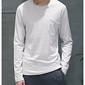 メンズ カジュアル/普段着 Tシャツ,シンプル ラウンドネック ソリッド コットン 長袖