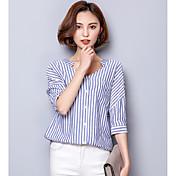 レディース カジュアル/普段着 シャツ,シンプル Vネック ソリッド コットン 半袖