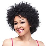 Pelucas sintéticas Rizado Pelo sintético Negro Peluca Mujer Corta Peluca natural Sin Tapa