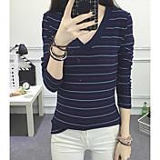 レディース カジュアル/普段着 Tシャツ,シンプル Vネック ストライプ コットン 長袖 薄手
