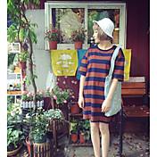 Mujer Chic de Calle Casual/Diario Noche Verano Camiseta,Escote Redondo A Rayas 1/2 Manga Algodón Medio