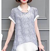 レディース カジュアル/普段着 夏 シャツ,シンプル ラウンドネック プリント コットン 半袖 薄手