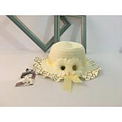 女の子用 春/秋 夏 キュート カジュアル ハット 装飾 麦わら 純色 日よけ帽