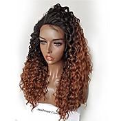 Mujer Pelucas de Cabello Natural Cabello humano Encaje Frontal Frontal sin Pegamento 180% Densidad Rizado rizado Peluca Negro / castaño