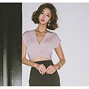 レディース カジュアル/普段着 春 Tシャツ,シンプル Vネック ソリッド モーダル ノースリーブ