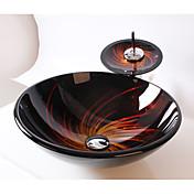 Contemporáneo Redondo material del disipador es Vidrio Templado Lavabo de Baño