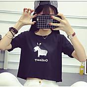 レディース お出かけ カジュアル/普段着 夏 Tシャツ,セクシー シンプル ラウンドネック パッチワーク コットン スパンデックス 半袖