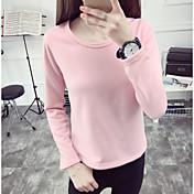 Mujer Simple Chic de Calle Casual/Diario Invierno Camiseta,Escote Redondo Un Color Manga Larga Algodón Grueso