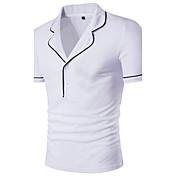 Kortærmet Rund hals Medium Herrer Ensfarvet Sommer Simpel Afslappet/Hverdag T-shirt,Bomuld Spandex