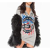 レディース カジュアル/普段着 Tシャツ,シンプル ラウンドネック ストライプ コットン 半袖