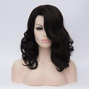 Mujer Pelucas sintéticas Sin Tapa Corto Ondulado Negro Azabache Parte lateral Con flequillo Peluca natural Peluca de Halloween Peluca de