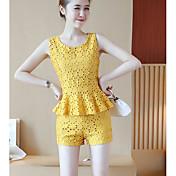 Mujer Chic de Calle Casual/Diario Primavera Verano T-Shirt Pantalón Trajes,Escote Redondo Un Color Sin Mangas Ahuecado Microelástico