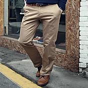 メンズ シンプル ミッドライズ ストレート スリム 非弾性 スーツ チノパン パンツ 純色