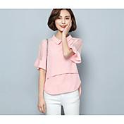 レディース カジュアル/普段着 Tシャツ,シンプル スクエアネック ソリッド ポリエステル 半袖