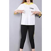 レディース カジュアル/普段着 夏 パーカー パンツ スーツ,运动风 レタード 五分袖