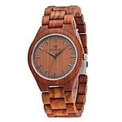 Hombre Reloj Madera Japonés Cuarzo de madera Madera Banda Lujo Elegant Marrón