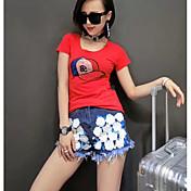 レディース 日常 カジュアル 春 夏 Tシャツ(21) パンツ スーツ,シンプル 活発的 ラウンドネック プリント 半袖