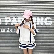 レディース 日常 夏 Tシャツ(21) パンツ スーツ,ソークオフ ラウンドネック ソリッド 半袖