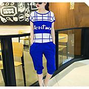 Mujer Casual/Diario Verano T-Shirt Pantalón Trajes,Escote Redondo Estampado Manga Corta Microelástico