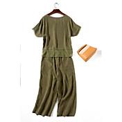 Mujer Camiseta - Un Color, Color puro Pantalón