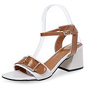 Mujer Zapatos Goma Verano Confort Sandalias Paseo Talón de bloque Hebilla Blanco / Negro / Amarillo