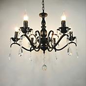 Ac110-240 living room candelabro simple cristal de hierro candle luces de iluminación sala de estar decoraciones de iluminación