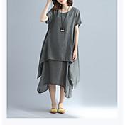 Mujer Línea A Corte Ancho Vaina Vestido - Estilo retro Elegante, Un Color Tiro Alto Maxi