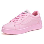 女性用 靴 ラバー 春 秋 コンフォートシューズ スニーカー フラットヒール ラウンドトウ 編み上げ のために アウトドア ホワイト ブラック ピンク