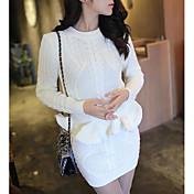 レディース 日常 冬 Tシャツ(21) スカート スーツ,現代風 ラウンドネック ソリッド 長袖