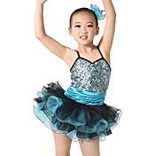 バレエ セット 子供用 演出 スパンデックス スパンコール フリル 多層 3個 ノースリーブ ナチュラルウエスト ドレス ヘッドピース ショートパンツ