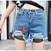 レディース ビンテージ ハイウエスト ワイドレッグ マイクロエラスティック ショーツ パンツ 刺繍