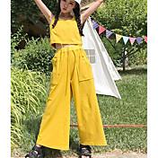 レディース 日常 夏 タンクトップ パンツ スーツ,現代風 ラウンドネック ソリッド ノースリーブ