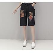 レディース ストリートファッション ミッドライズ ストレート マイクロエラスティック ジーンズ ショーツ パンツ フラワー