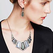 Mujer Juego de Joyas Pendientes colgantes Collares Babero Joyería Destacada Cosecha Piedras preciosas sintéticas Cristal Zirconia Cúbica