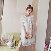 Mujer Empapa Diario Verano T-Shirt Pantalón Trajes,Escote Redondo Un Color Floral Estampado