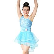 バレエ ワンピース 女性用 子供用 演出 スパンデックス ポリエステル スパンコール フリル 2個 ノースリーブ ナチュラルウエスト ドレス ヘッドピース