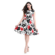 Mujer Línea A Corte Swing Vestido Fiesta Casual/Diario Trabajo Tallas Grandes Vintage Bonito,Floral Estampado Escote RedondoHasta la
